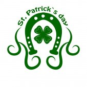 Saint Patrick day symbol of horseshoe and four-leaf clover leaf or lucky shamrock Irish holiday traditional logo design element for vector greeting card or celebration feast text template