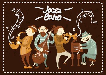 Illustration pour Jazz band jouant un concert de musique live sur scène. Instruments de musique vectoriels saxophone, piano et contrebasse. Art style hommes personnages - image libre de droit