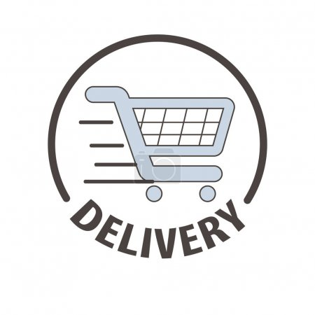 Illustration for Shopping cart logo template for express delivery service. Supermarket store trolley carriage vector symbol for online shop or internet order - Royalty Free Image