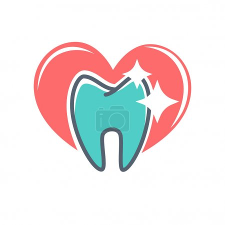 Dental logo on background of red heart.
