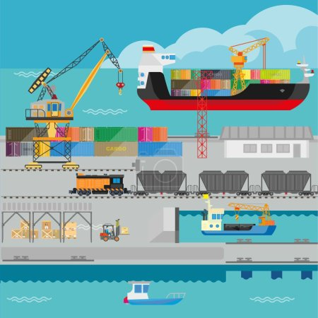Logistics in port shipping infographics