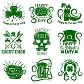 Saint Patrick logos set