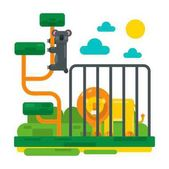 Lion near fence and lemur on abstract branches Zoo picture in flat style design Cartoon unau and big lion in cage vector illustration for children book Sun and clouds in sky fairy scenery