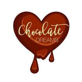 Chocolate candy in heart shape isolated on white Vector illustration of dark heart choco sweet that melts and with two falling drops Chocolate dreams tasty present love concept in flat design