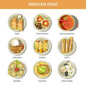 Mexican food cuisine for restaurant menu Mexico traditional meal dishes fajitas burrito enchilada or quesadilla with guacamole and salsa sauce and spicy chili pepper or bean soup Vector icons