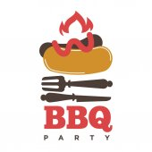 Barbecue or grill sausage logo template