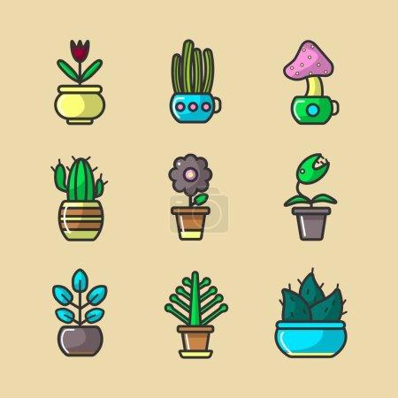 Illustration pour Plantes et fleurs en pots collection vectorielle de seize éléments. Affiche vectorielle de divers types de cactus et fleurs fleuries avec des tiges et des feuilles vertes qui poussent dans les maisons sur les fenêtres - image libre de droit