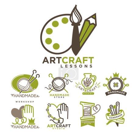 Art and handmade craft logo templates flat set.