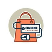 Online shopping logo template for web site design Vector icon of shop or market bag connected to computer mouse