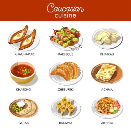 Caucasian or Georgian cuisine icons
