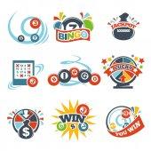 Bingo lotto win icons set