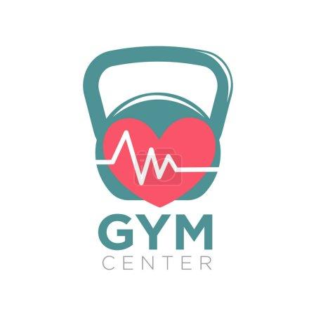 Gym center logotype design with kettlebell