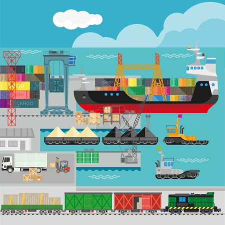 Logistics in port infographics template