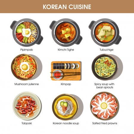 Korean cuisine flat collection of dishes