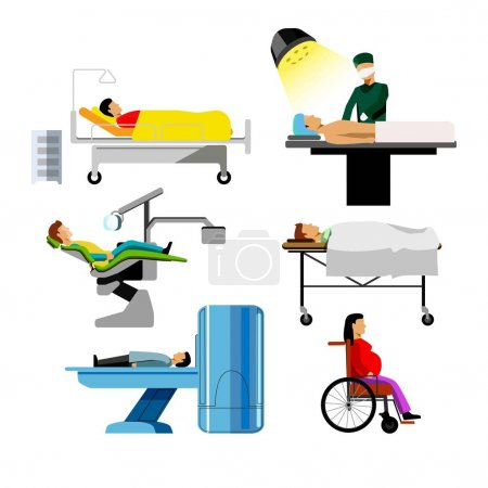 Hospital patients icons set