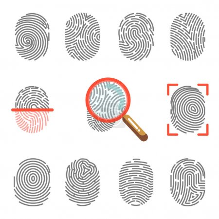 Fingerprints security icons