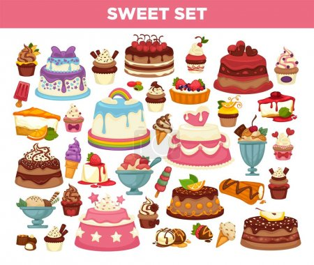 Cakes and cupcakes set