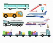 Airport passenger and airlines service vehicles and planes transport equipment Vector isolated flat icons of aircraft airstair and shuttle bus fuel tank truck tow and luggage tractor