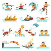 Water sport activities vector flat icons Set of wave kite surfing or flyboard windsurfing scuba diving or snorkeling polo or synchronized swimming canoeing or team rowing and water-skis