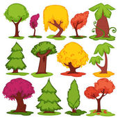 Trees vector flat icons set Set of cartoon pine fir oak or elm and baobab maple and cypress Coniferous deciduous leaf tropical of fruit tree forest foliage elements in summer and autumn fall