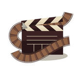 Cinema clapperboard with celluloid elements