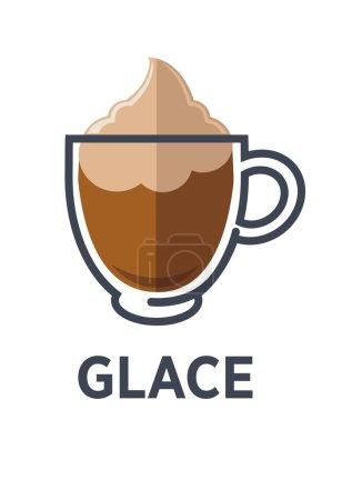 Illustration pour Café Glace avec fraîcheur douce de crème glacée vanille avec mousse dans une tasse en verre transparent dans un style plat - image libre de droit
