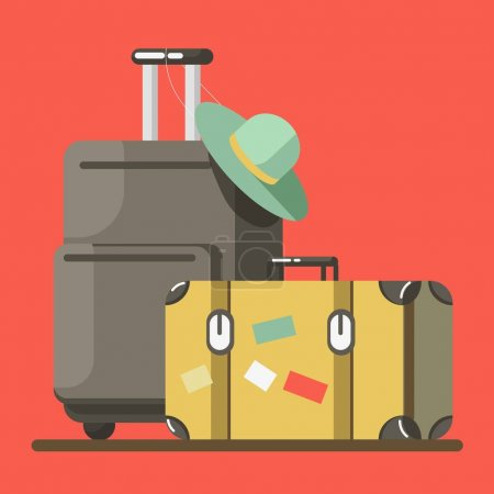 Illustration for Suitcase on wheels with hat on it and old fashioned valise isolated on red background. Baggage ready for summer vacations abroad vector illustration. Heavy luggage for long journey in flat style - Royalty Free Image