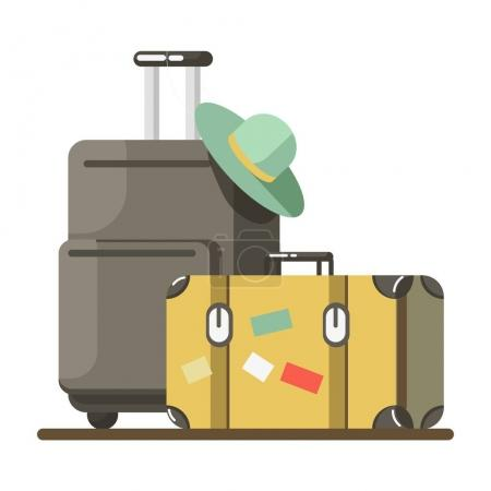 Illustration for Suitcase on wheels with hat on it and old fashioned valise on white background. Baggage ready for summer vacation abroad, vector illustration. Heavy luggage for long journey in flat style - Royalty Free Image