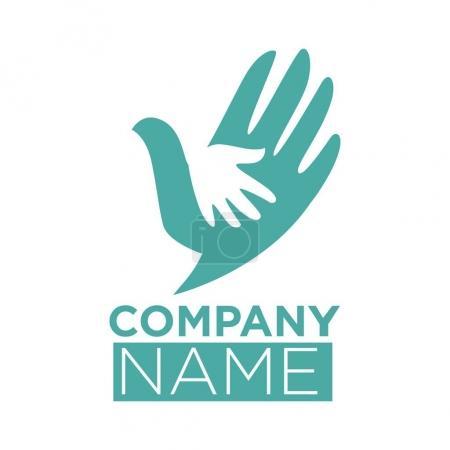 Dove bird symbol of helping hand