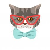 Siberian cat in glasses and bow tie