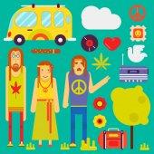 Hippie culture style concept