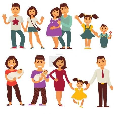 Illustration for Family vector flat icons set. Mother, father and children characters of pregnant woman and man with newborn girl, happy boy with sister and brother - Royalty Free Image