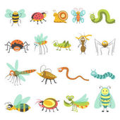 Cartoon insects set Vector isolated icons of funny bugs of bumblebee or bee butterfly or dragonfly snake and spider with caterpillar and snail for kid design elements