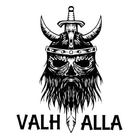 Valhalla symbol of ancient Viking warrior in helme...