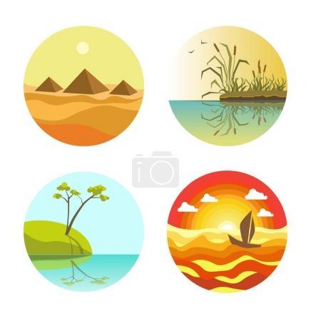 Landscape round icons