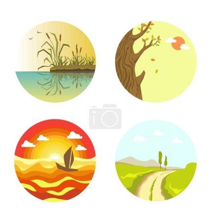 Nature views on four circles