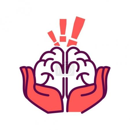 Brain in hands with exclamation marks