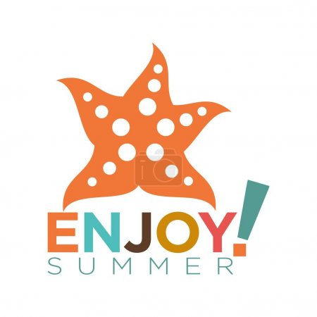 Enjoy summer flat logotype