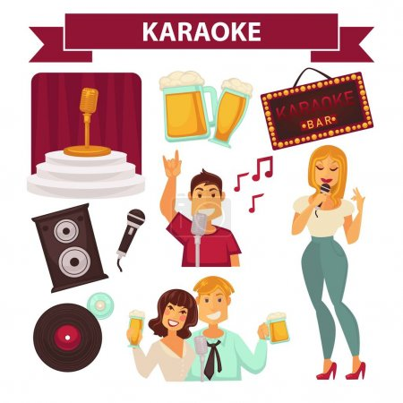 Karaoke club party icons
