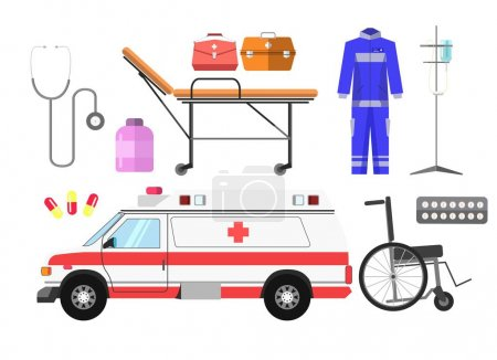 Illustration for Ambulance car, wheelchair, gurney wheeled stretcher, medical kit, blue uniform, stethoscope, pills and medicine drop counter vector illustration isolated on white. Ambulatory equipment in flat style - Royalty Free Image