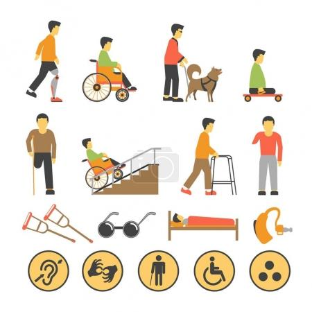 Disabled people and necessary equipments set
