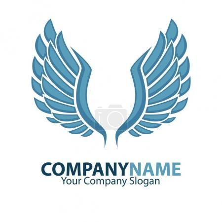 Company name emblem with blue wings