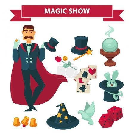 Illustration pour Accessoires et éléments de spectacle de magie. Cirque illusionniste ou magicien homme en manteau conjugal avec lapin en chapeau, boule de cristal, chapeau de sorcière, cartes et pièces de monnaie pour le tour de mise au point. Ensemble d'icônes plates vectorielles - image libre de droit