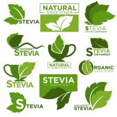 Stevia sweetener vector logo templates Green leaf of sugar natural substitute for healthy dietetic food and organic product labels Vector isolated icons set