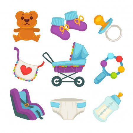 Baby things and clothes colorful poster on white