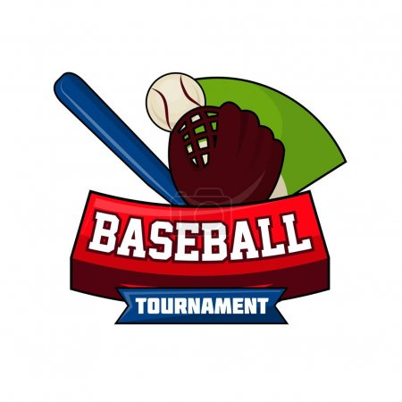 Baseball tournament logo design with ball, bat and leather glove