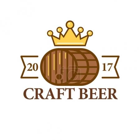 Craft beer logo with a barrel