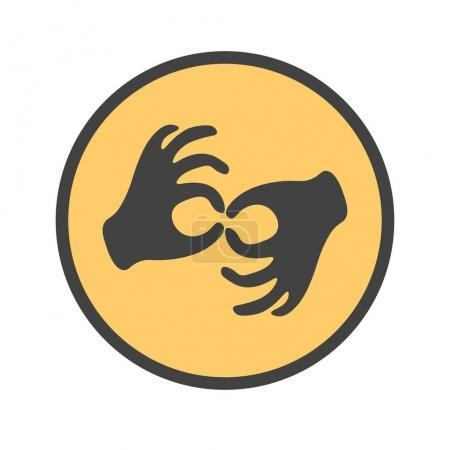 Hands showing the deaf gesture