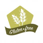 Gluten free substance in cereal grains logo design with two ears of wheat and text vector illustration isolated on white Ingredient responsible for elastic texture of dough due to mixture of proteins