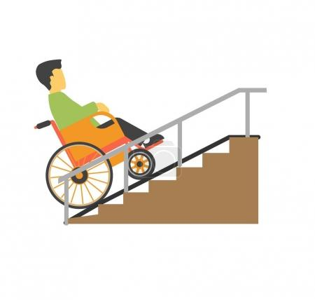 Illustration for Man in wheelchair riding on stairs vector picture. Disabled male person on special carriage trying to move up by ramp colorful illustration in flat design. Disability template and helping things - Royalty Free Image